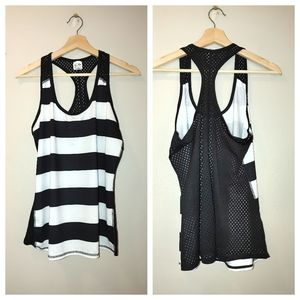 Champion Black White Stripe Mesh Racerback Tank L